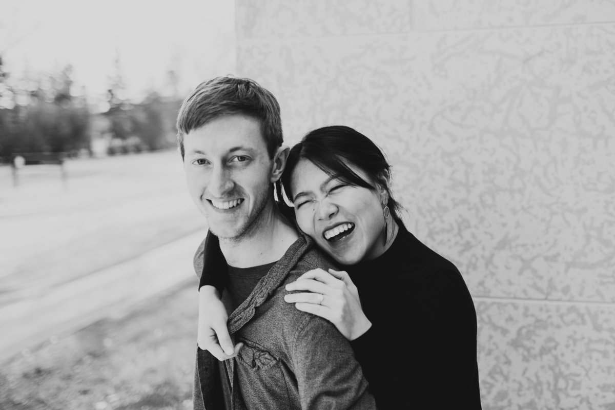 Naturally laughter for engagement photos
