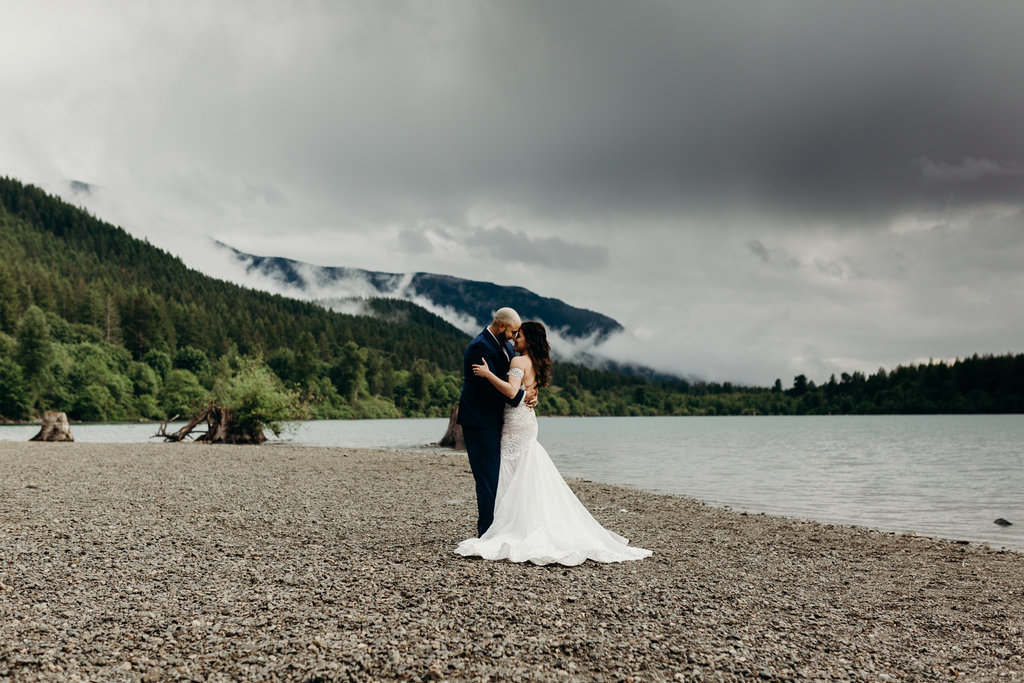 Bride and Groom portrait in Rattlesnake Lake Washington