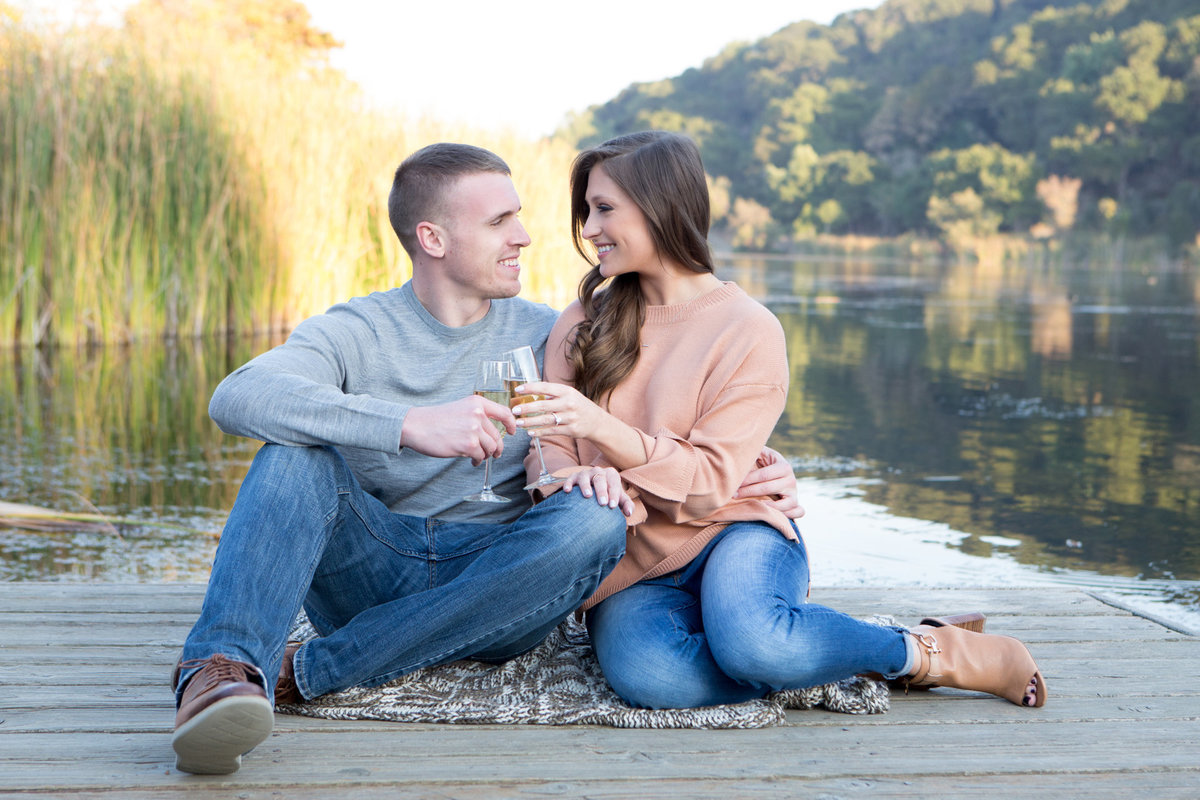 Champagne toast at Foothills Park Engagement studios with Deneffestudios.com