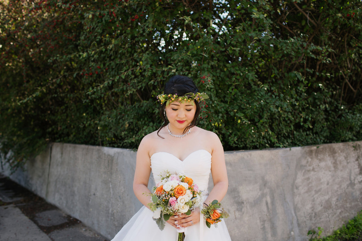 Modern bride with flower crown