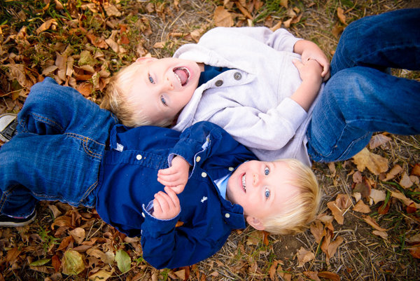 Boys in Fall Leaves