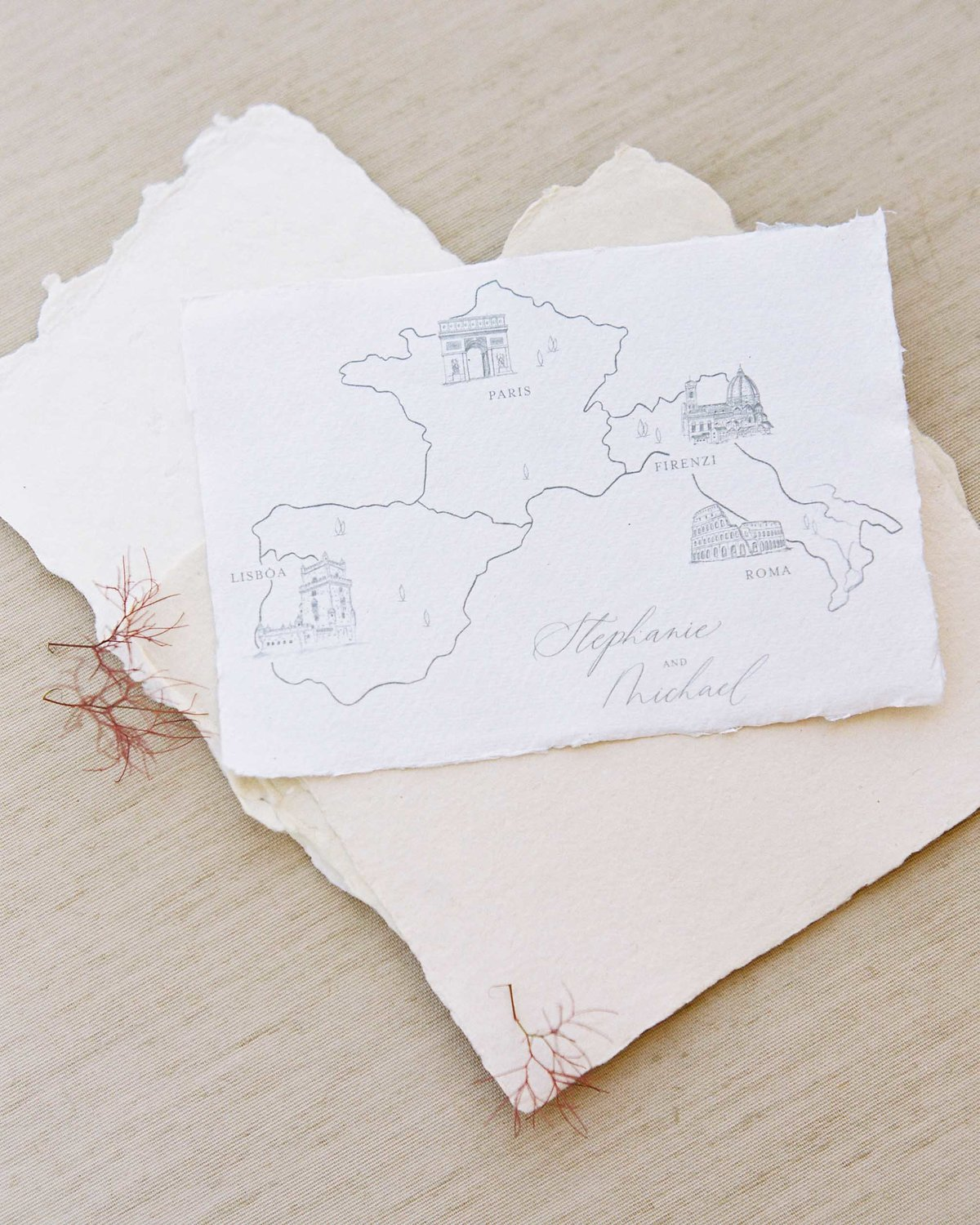 Plume & Fete wedding invitations custom illustrated map card european wedding
