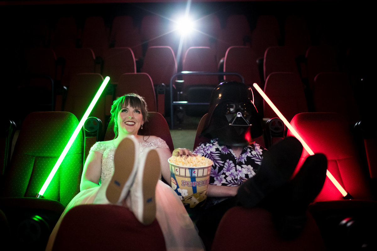 The coolest of cool clients, this Bride & Groom snuck into a theater with us, decked out with their Star Wars gear to put everyone else's wedding photographs to shame.  The Galaxy 14 in Rochester, Minnesota was a perfectly accommodating venue.