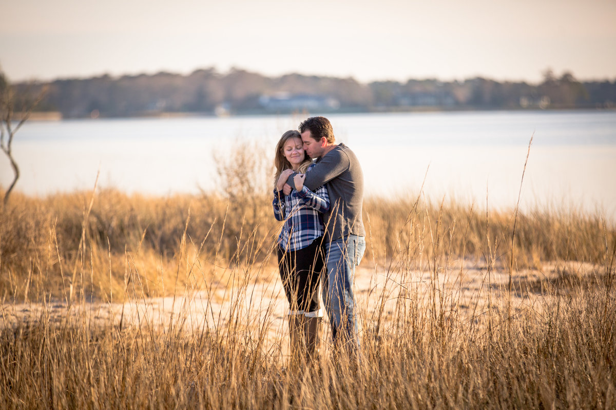 couple in reeds at first landing state park