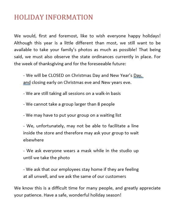 covid 19 store policies- holidays
