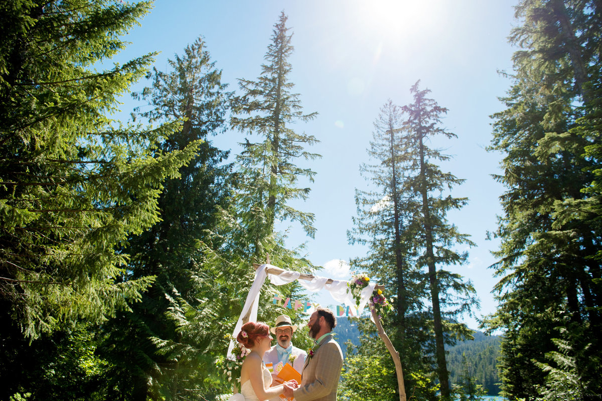very tall trees behind wedding ceremony at lost lake