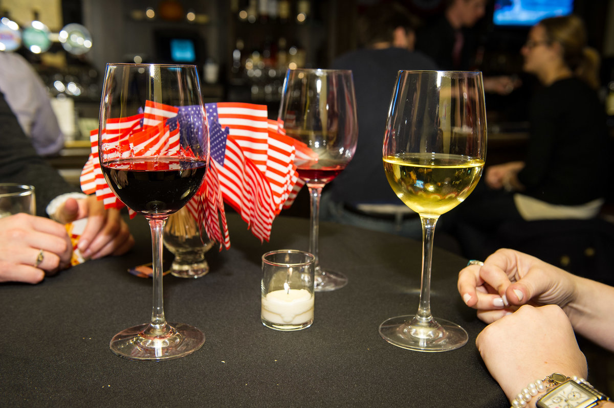 The Week, Election Night Party, Chicago IL, wine and flags.