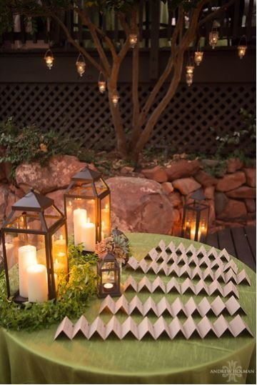 sedona flagstaff wedding flowers lauberge lanterns with greenery