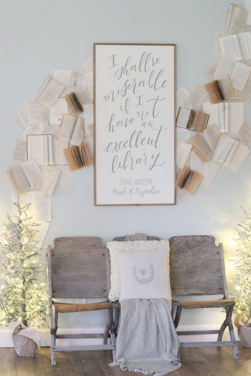 Cotton+Stem+Interiors+farmhouse+christmas+decor+book+wall
