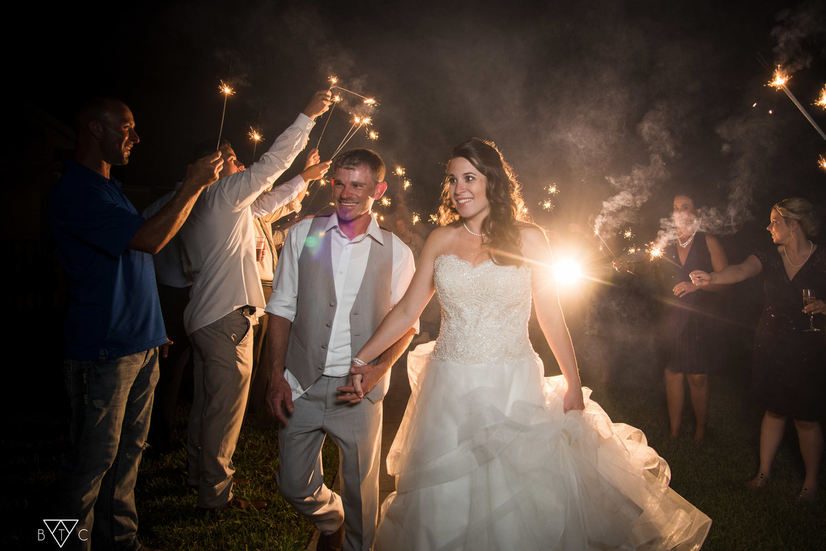 sparkler exit wedding  lake city fl Black Tie Cinema