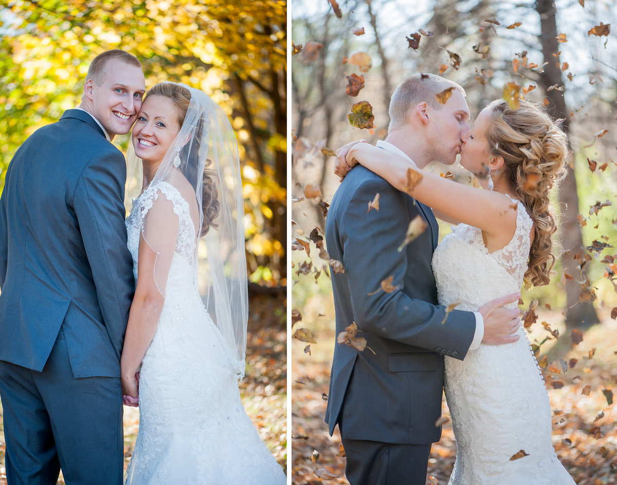 Romantic fall weddings photographed by Kris Kandel in Fargo Moorhead and Grand Forks.