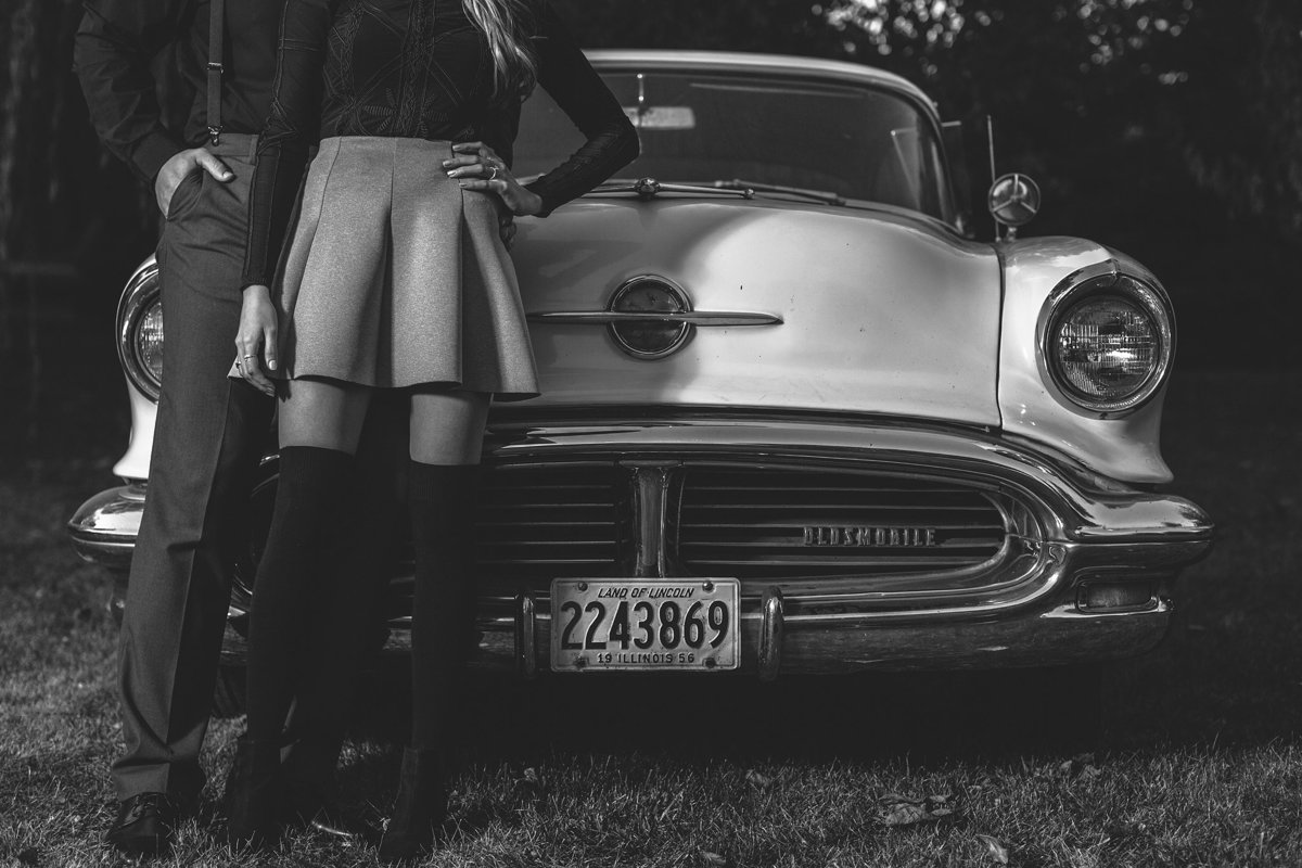 classic car in an engagement session in rockford illinois