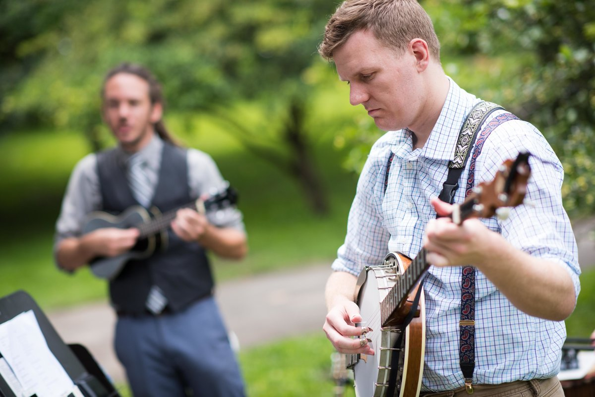 Musicians play during outdoor wedding ceremony, Humboldt Park Chicago.