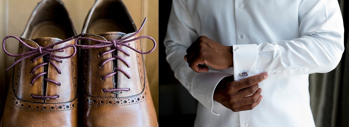 Groom's Wedding Day Details.  Brown Shoes and Purple Cuff links.
