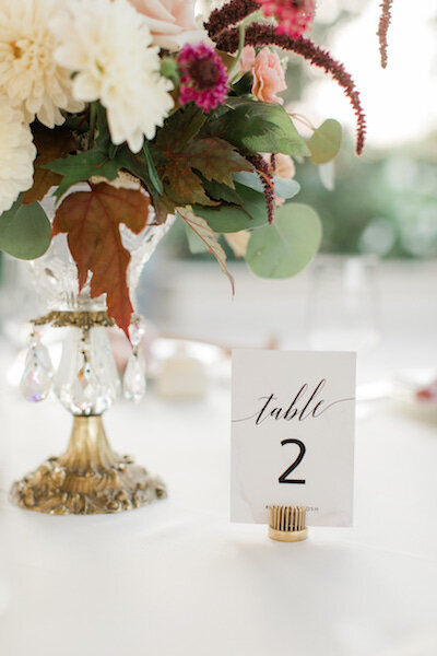 table arrangement in crystal dish