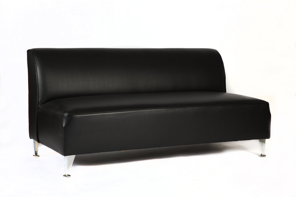 66'' Black Leather Sofa