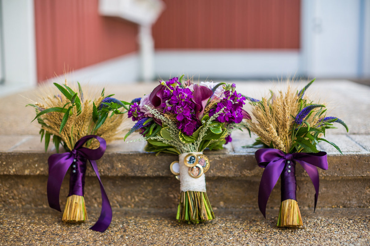 bridal bouquet with wheat