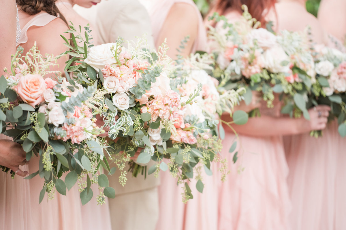 Petal Pushers bridesmaids bouquets in Blush
