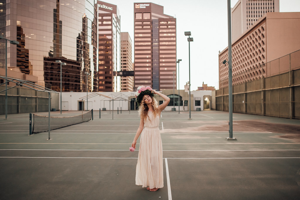 Portrait of a Free People bride in Downtown Phoenix Arizona
