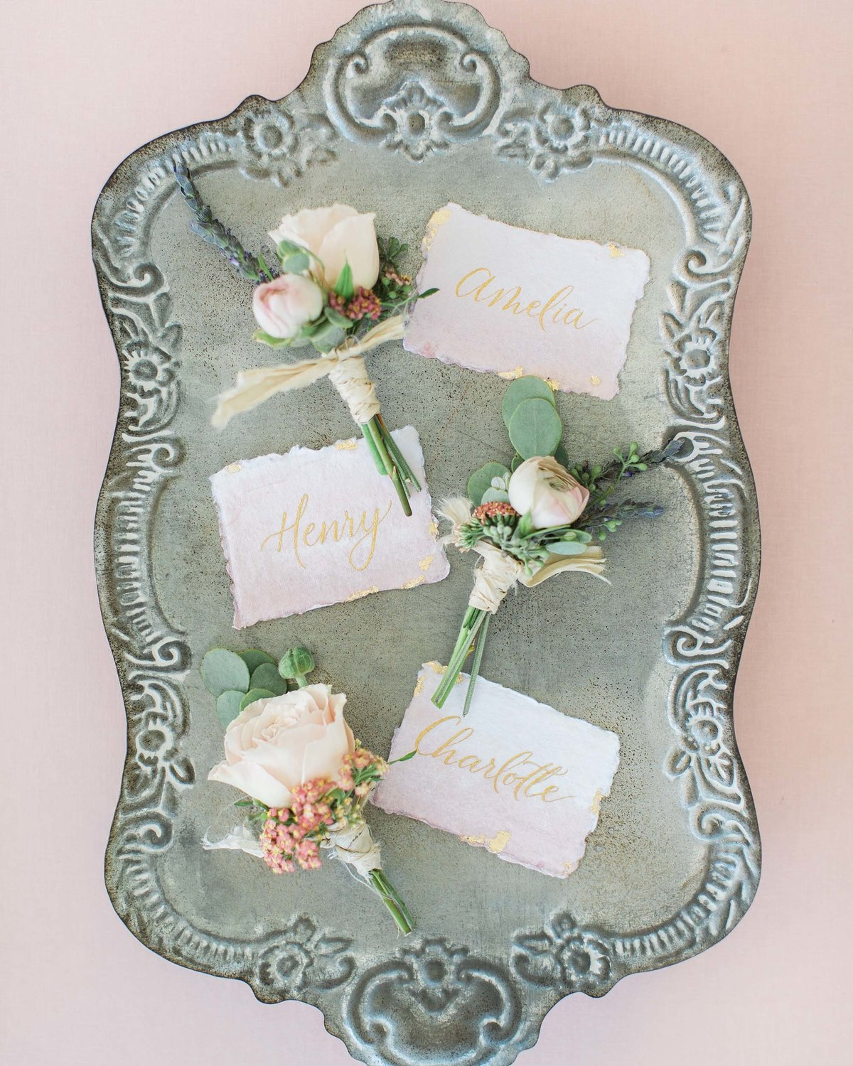 Plume & Fete watercolor wash dainty place cards