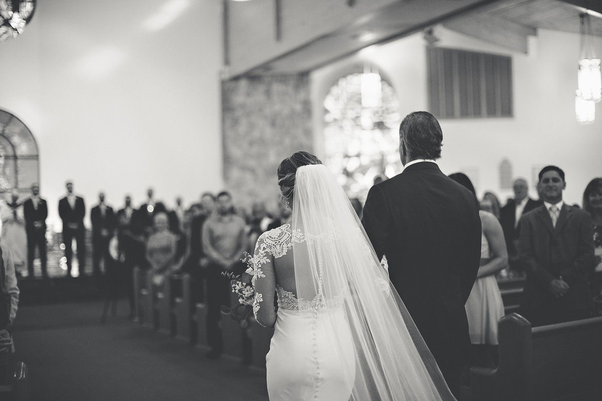 Dad walking daughter down the isle