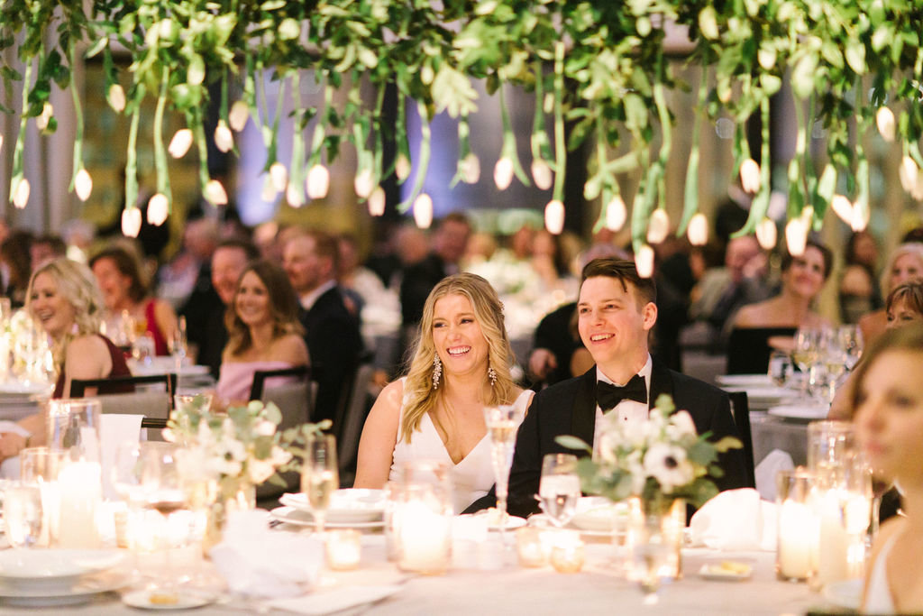 Langham Chicago Wedding with Suspended Greenery Centerpieces_13