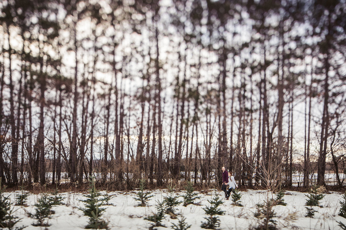 guy and girl walking through snow at williams tree farm during their winter engagement session