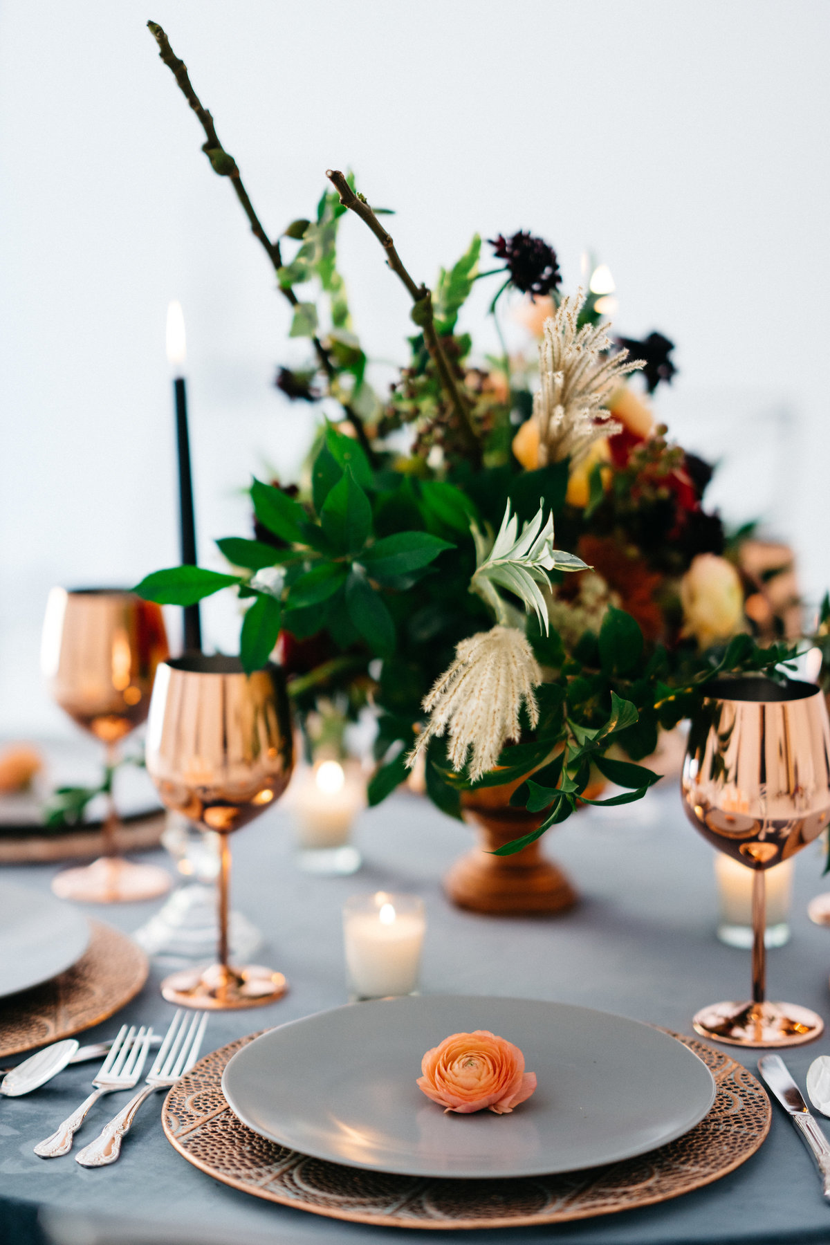 rose gold charger fall centerpieces