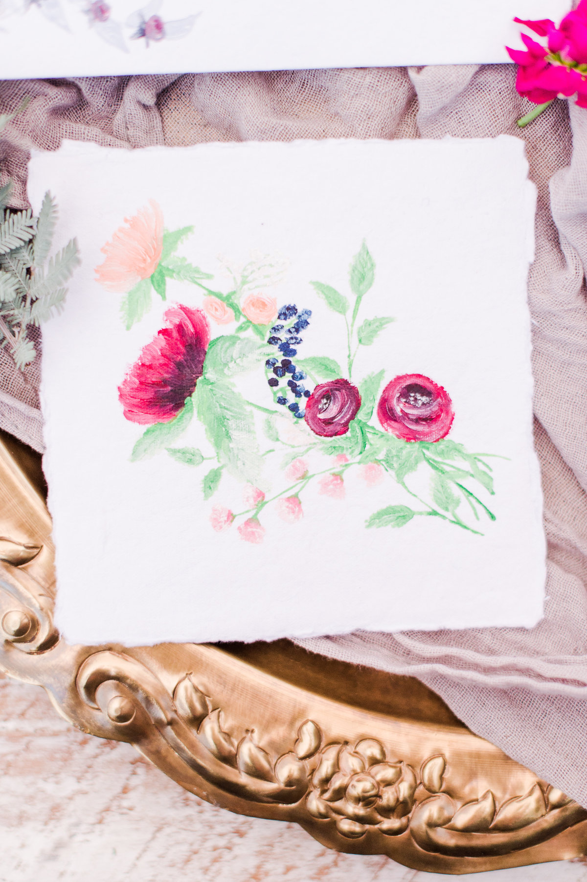 Raspberry Plain Leesburg Virginia Hand Painted On Hand Made Paper Watercolor Wedding Invitation Suite