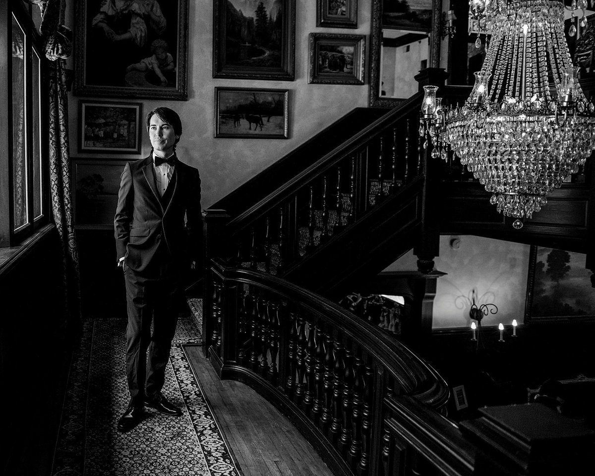 Black and White Portrait of Groom at Gramercy Mansion