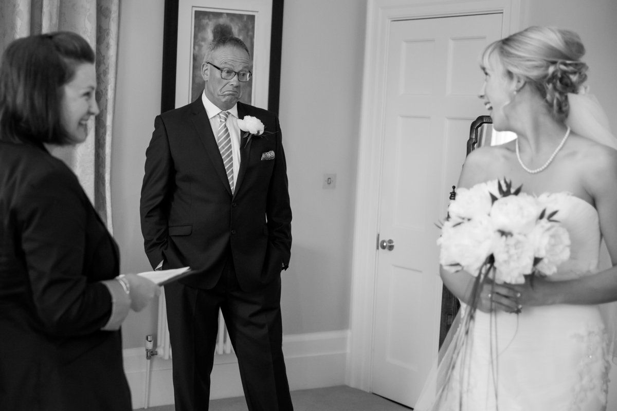bride and father first look cornwall wedding