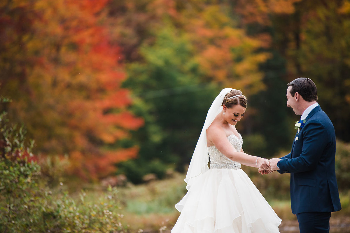 fall wedding first look, Alerin Barn wedding in Vermont