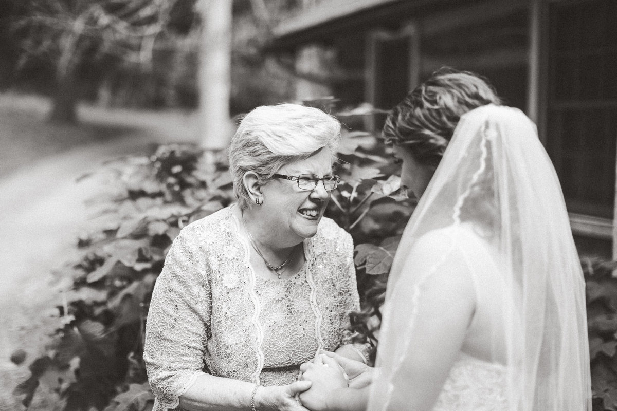 Black and white photo of bride and mother
