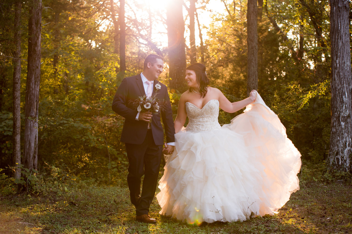 Bride and Groom during Golden hour