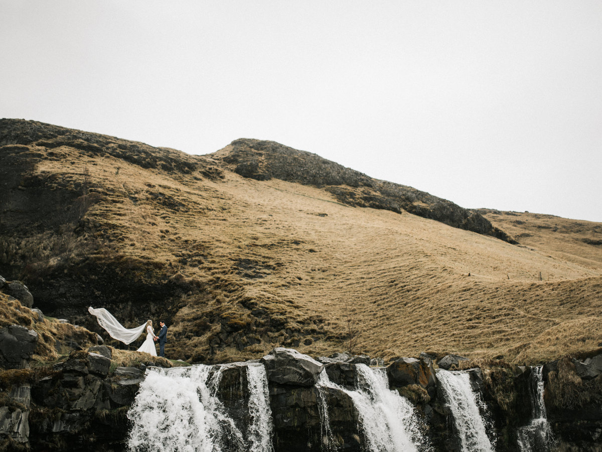 iceland destination wedding elopement waterfall