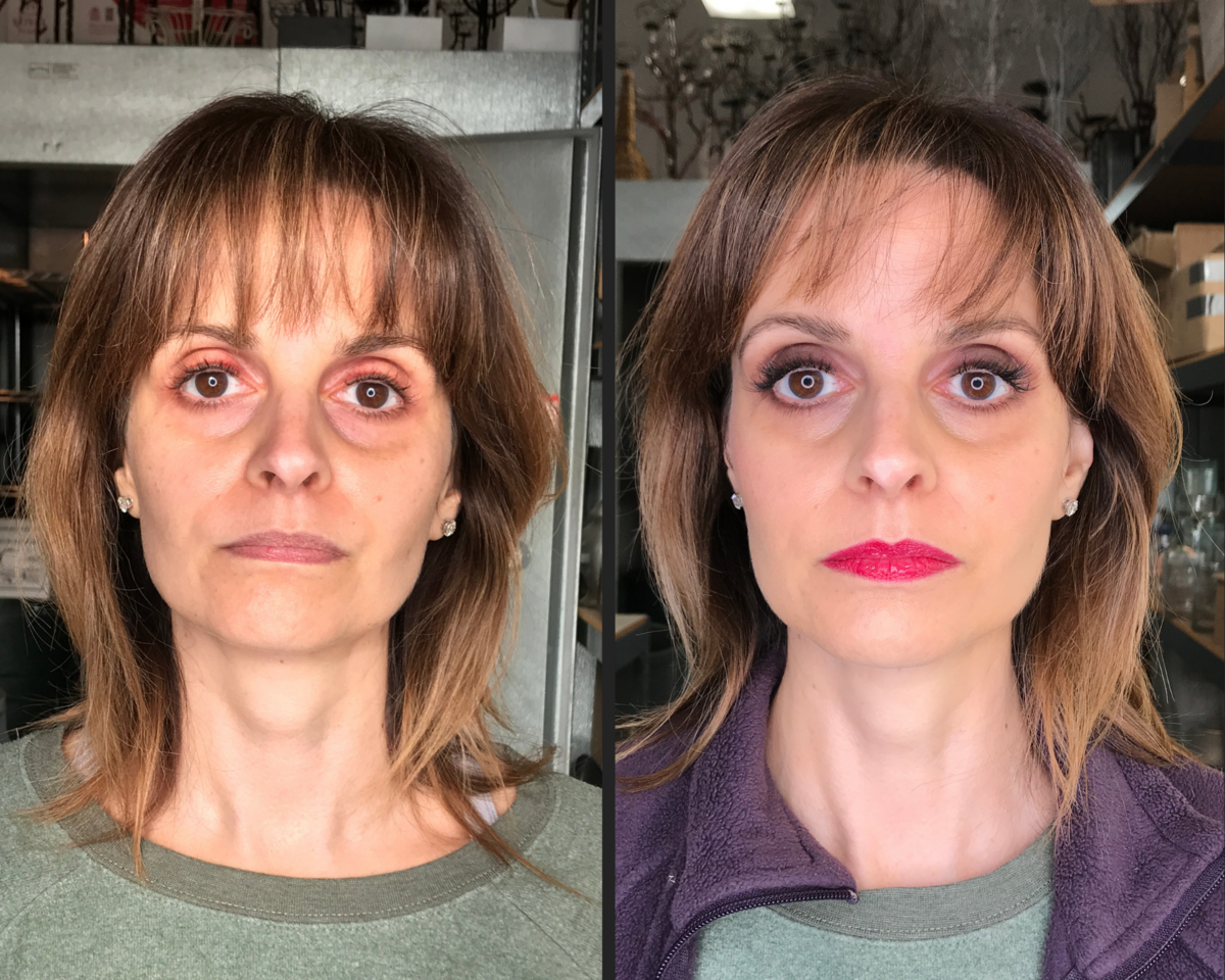 before and after makeup smokey eye with a bright fuchsia lip