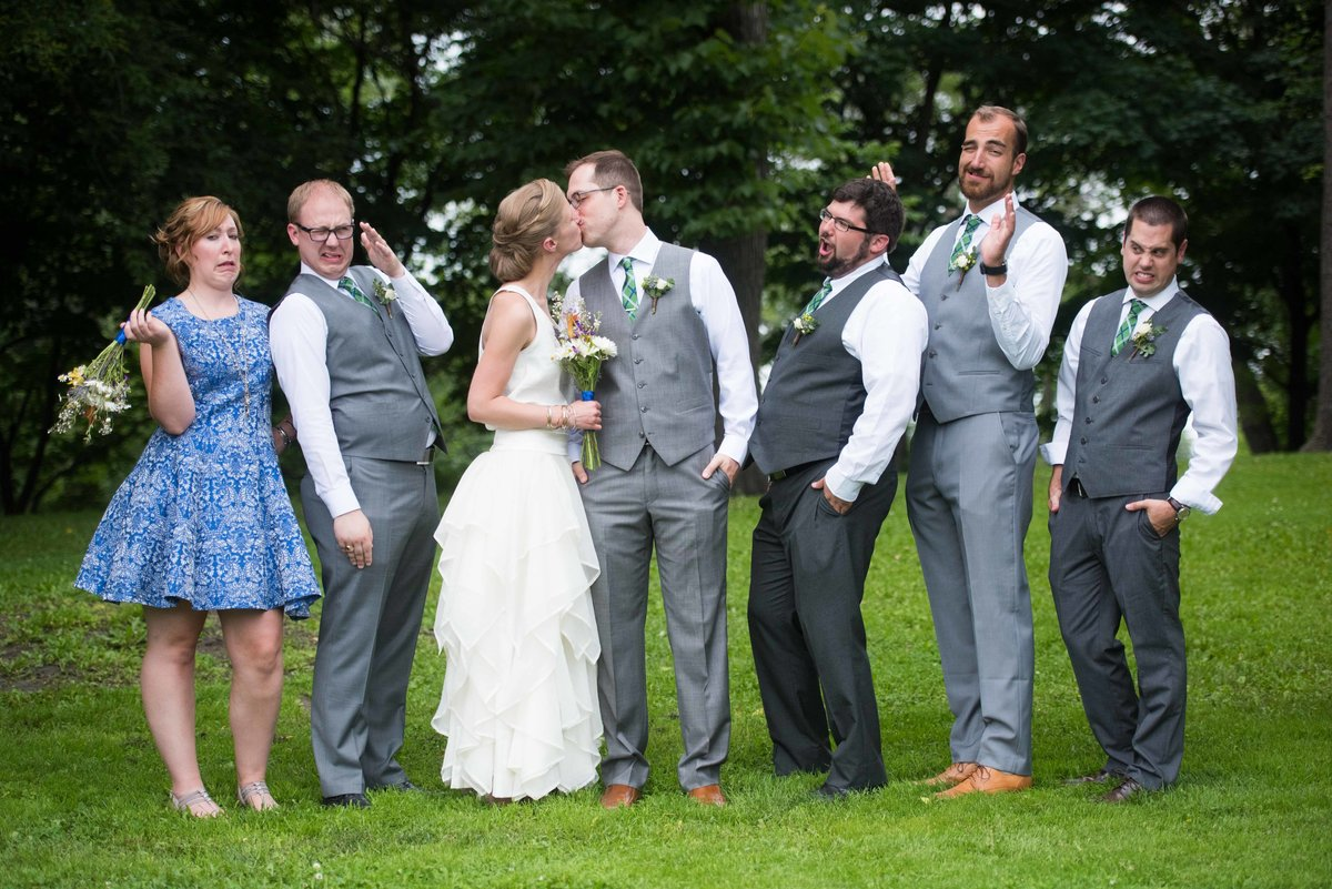 Fun bridal party photo, couple kissing, Chicago wedding, Humboldt Park.