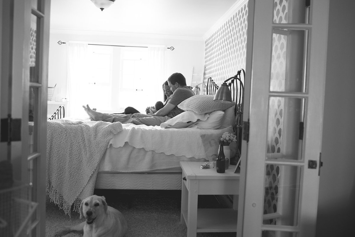 a family cuddling on their bed with their dog watching