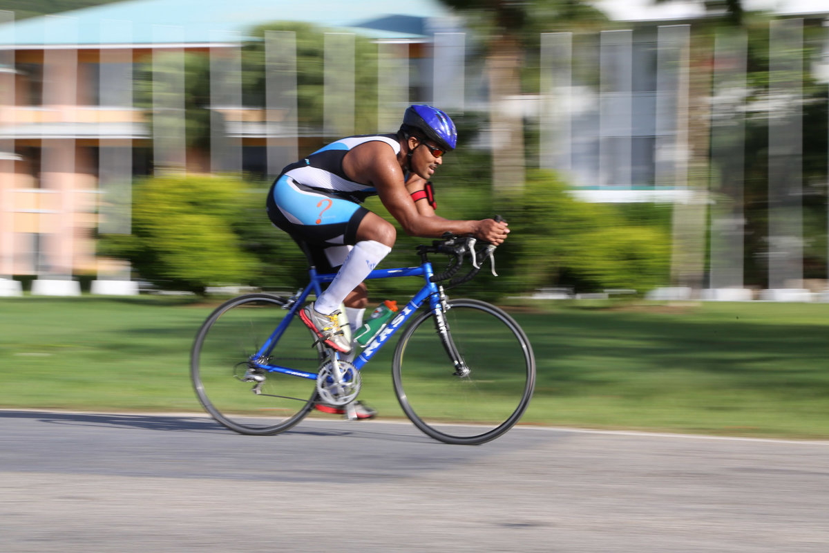 A moving capture of a cyclist during a race. Photo by Ross Photography, Trinidad, W.I..
