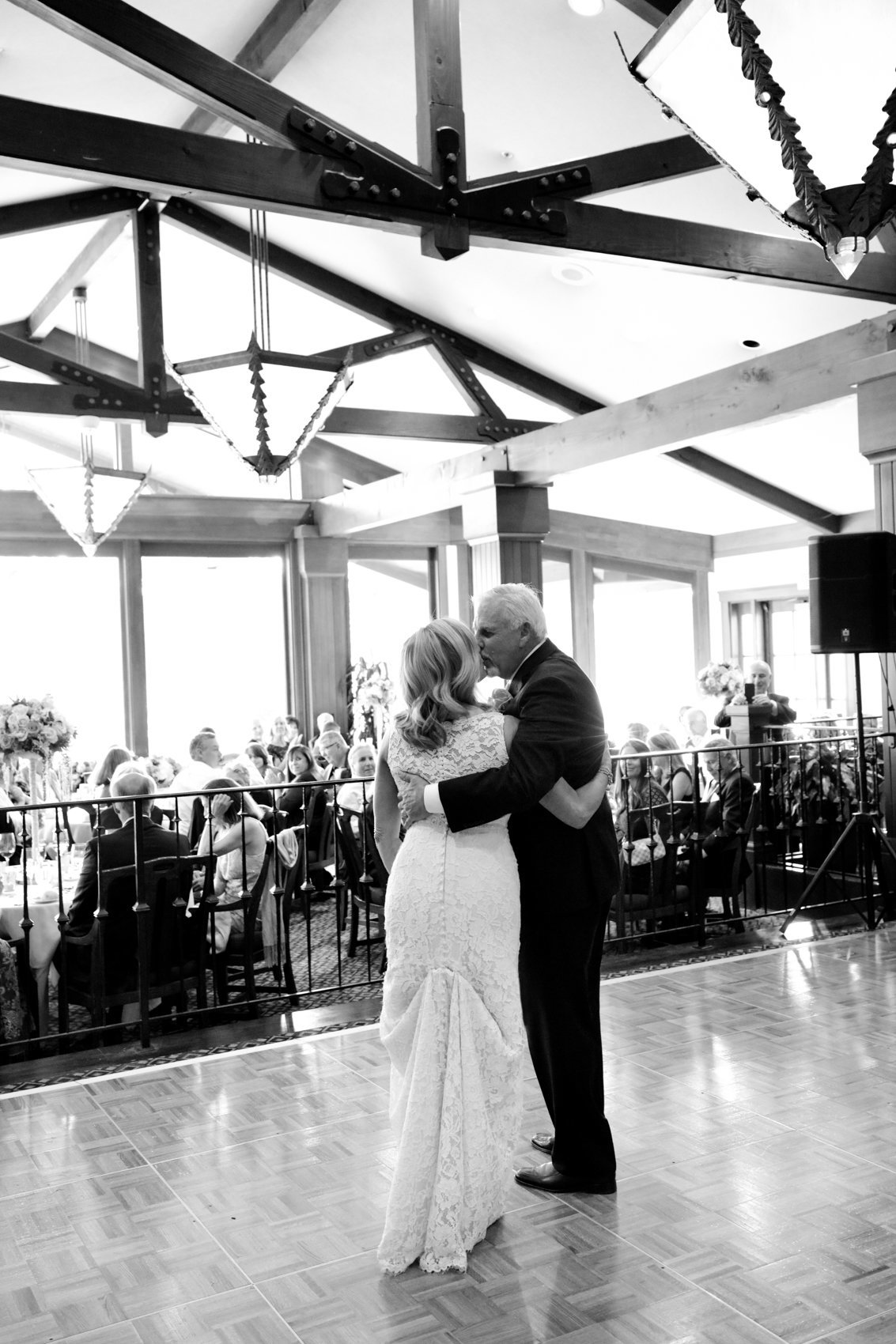Black and white portrait of couple, dancing during reception, deneffe studios wedding