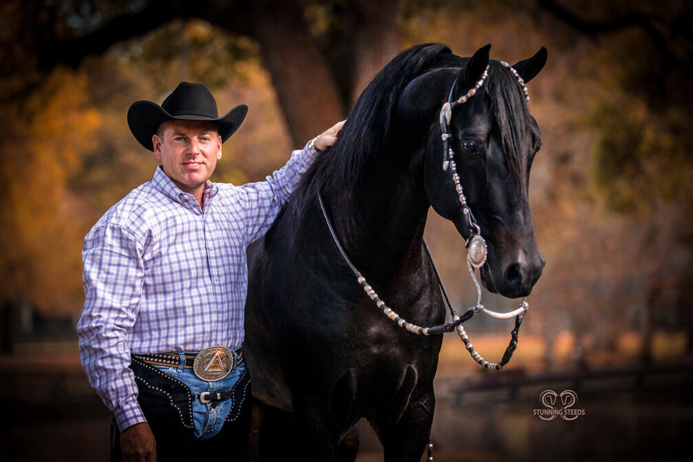 Rick Gervasio with black Morgan stallion