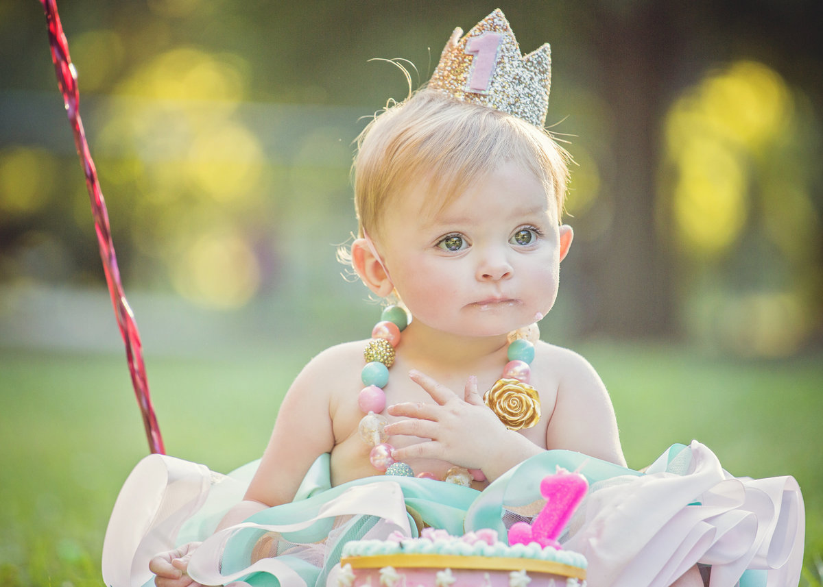 charlotte family photographer jamie lucido creates beautiful image of a one year old girl celebrating her birthday with a cake smash