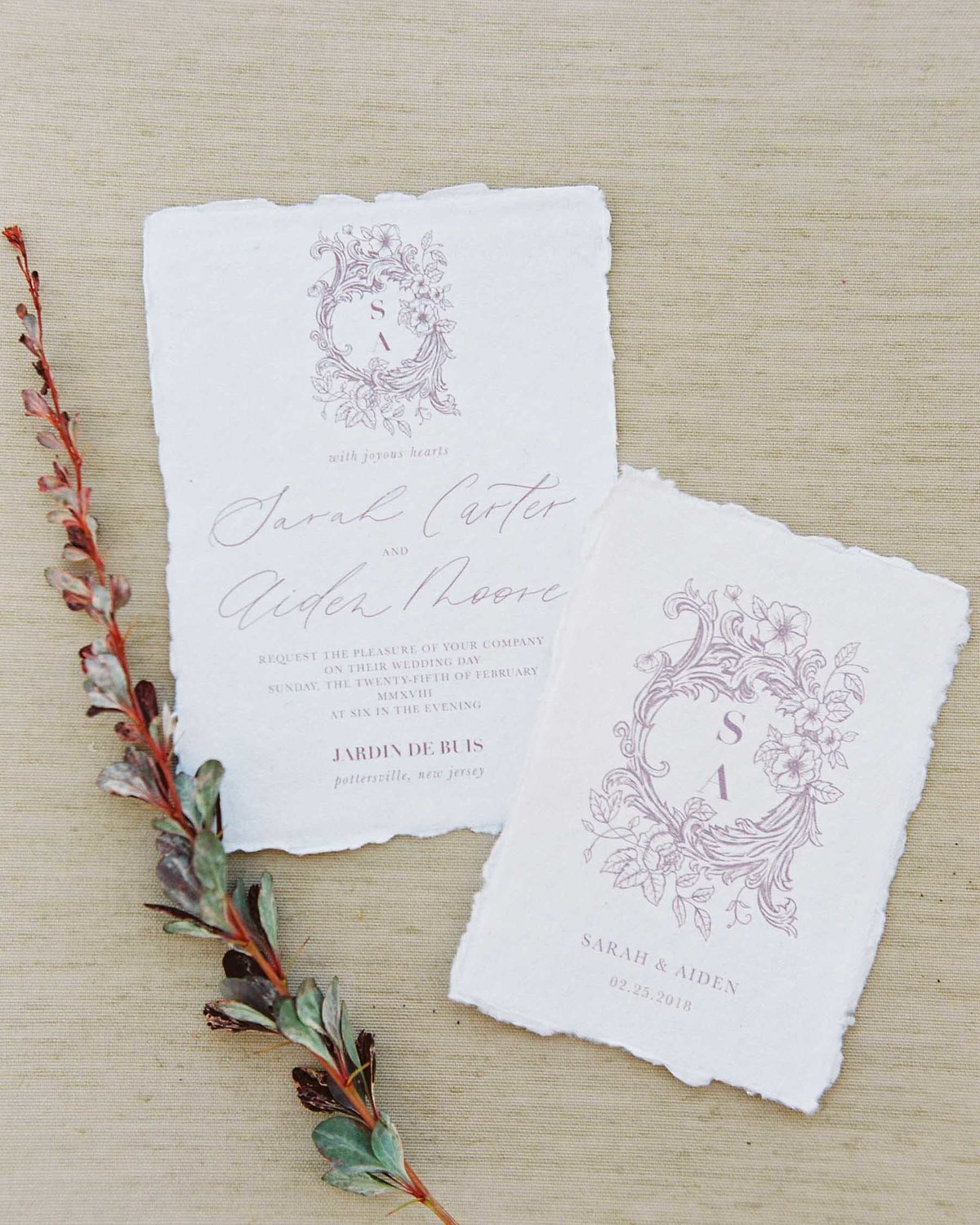 Plume & Fete wedding invitation collections romantic fine art wedding invite with custom crest and monogram lavender