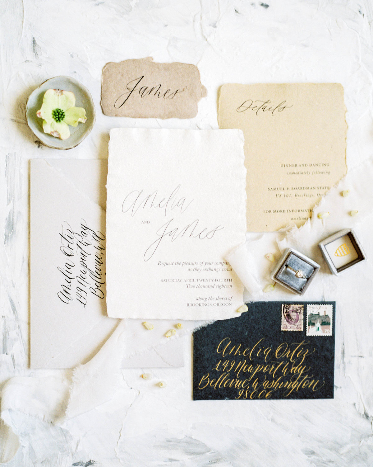 coastal inspired organic and minimal invitation suite by Plume & Fete