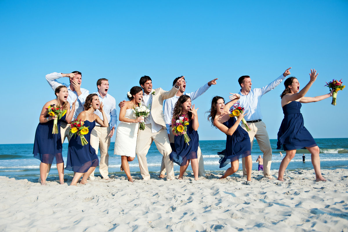 A wedding party on Long Beach Island, NJ scream from the terror of what can only be dinosaurs.