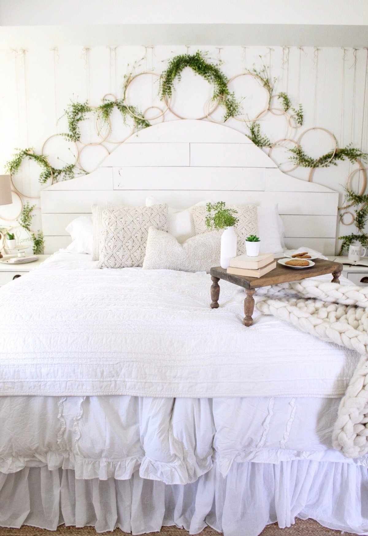 CottonStem.com farmhouse bedroom shiplap headboard spring decor