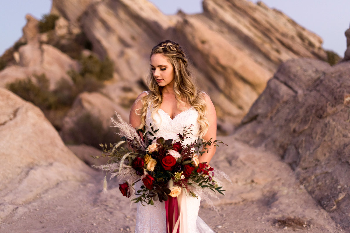 vasquez rocks high fashion bridal portrait photo