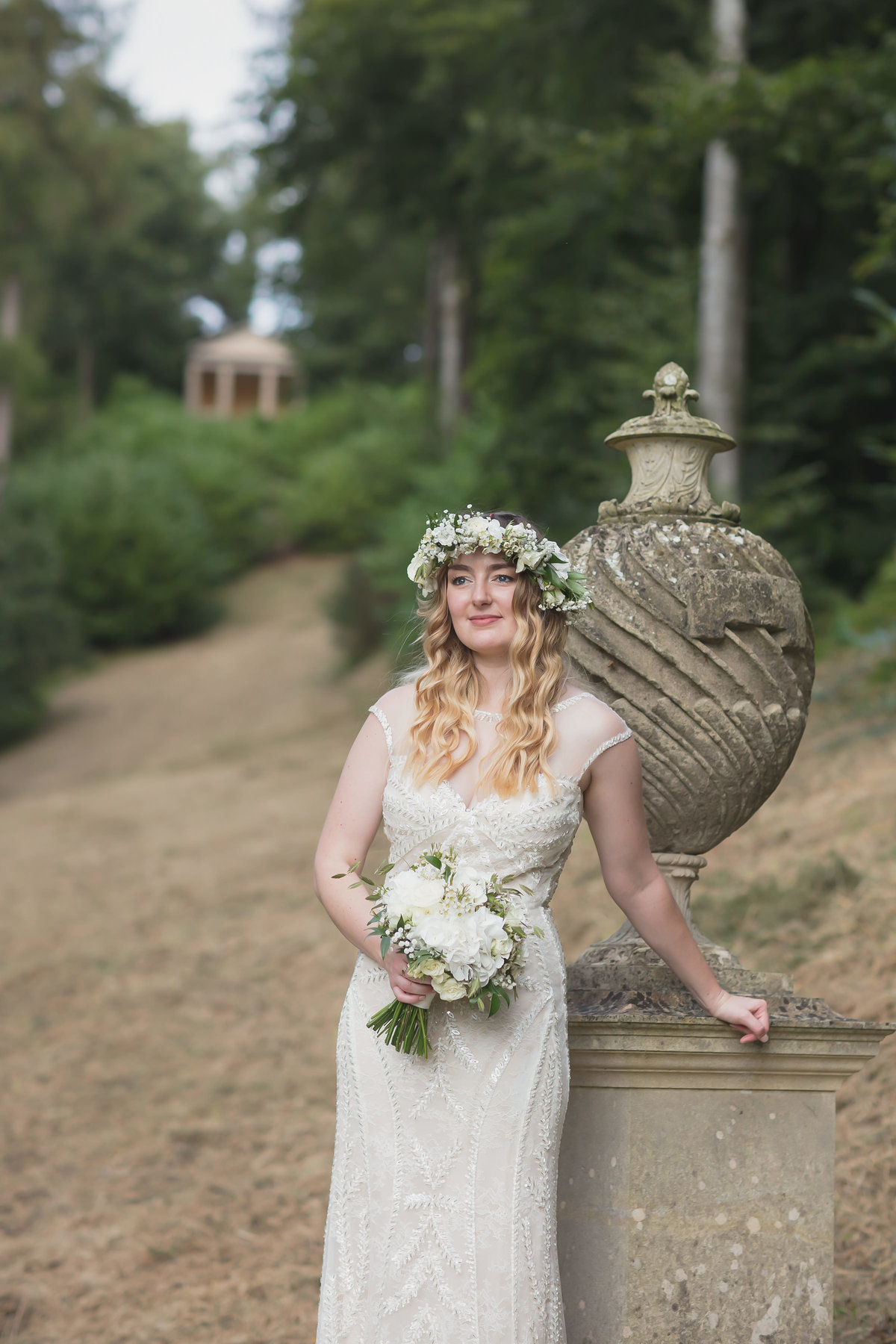 bride at hestercombe gardens in somerset wedding photography