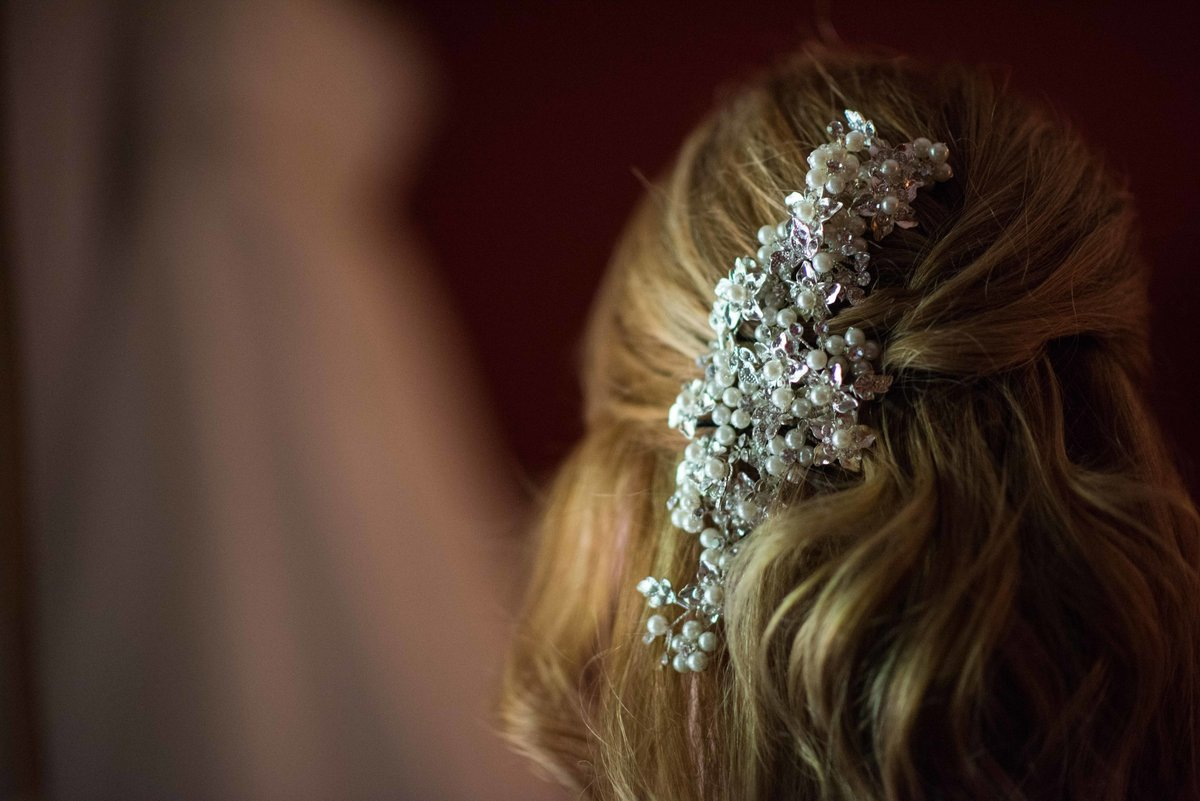 Hair accessory for bride, Park City Utah wedding.