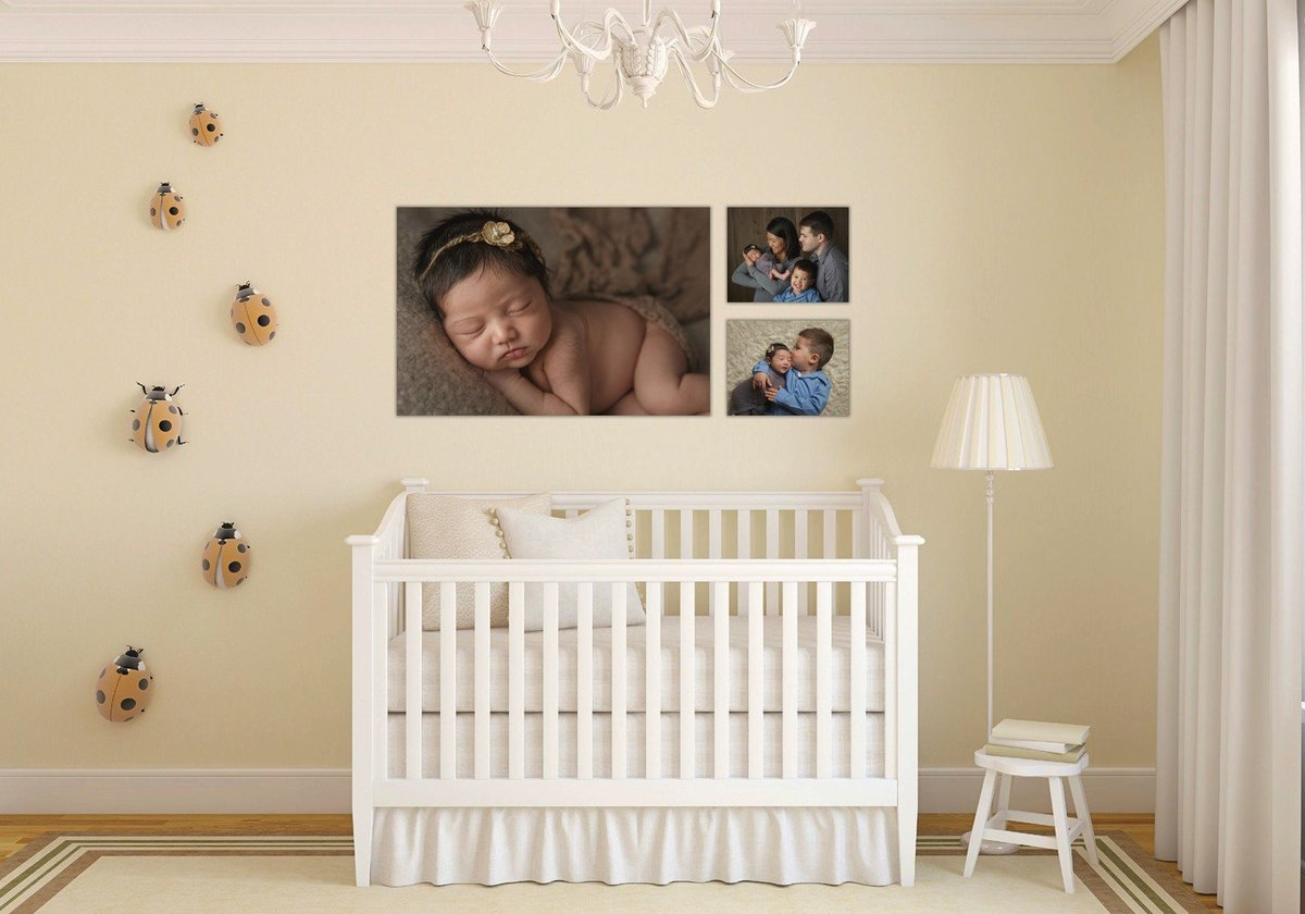 wall gallery display of canvas print photos hudson valley newborn baby infant photographer photo studio in Cornwall NY